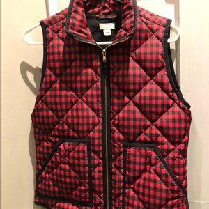 J. Crew red Buffalo check vest size xs